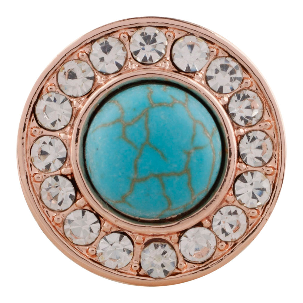 Rose Gold Princess Turquoise Snap - Gracie Roze Yourself Expression Snap Jewelry