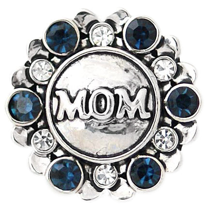 Navy and White Crystal Mom Snap - Gracie Roze Yourself Expression Snap Jewelry