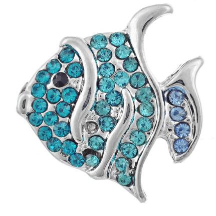Aqua and Blue Crystal Fish Snap - Gracie Roze Yourself Expression Snap Jewelry