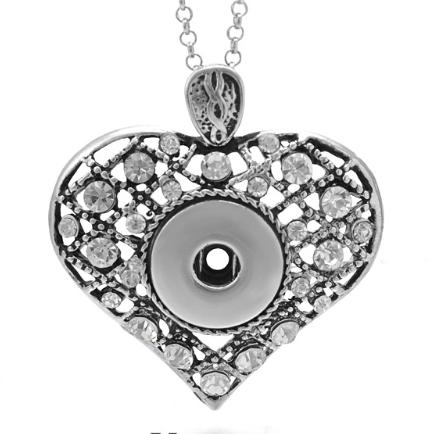 Large Patchwork Crystal Heart Snap Necklace for Snap Jewelry