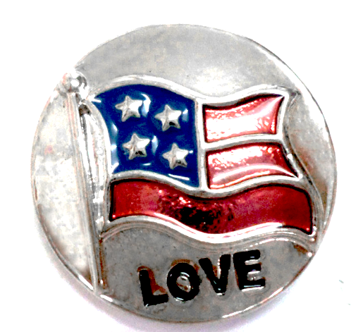 American Love Flag Standard Snap - Gracie Roze Yourself Expression Snap Jewelry