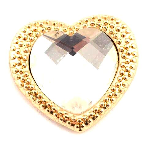 Gold Heart with White Crystal Snap