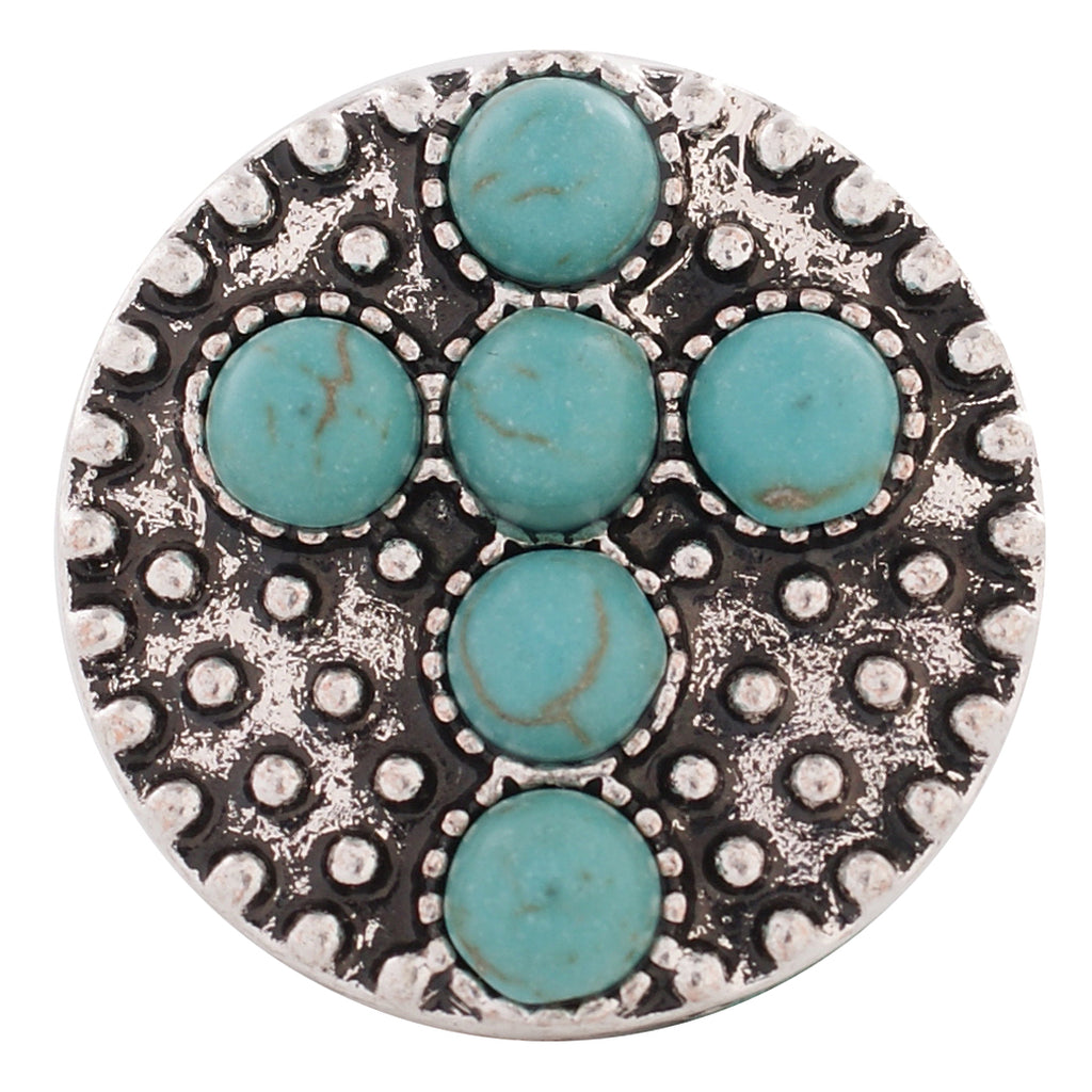 Turquoise Cross Snap - Gracie Roze Yourself Expression Snap Jewelry