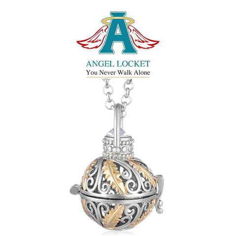 Two Toned Spiral Angel Locket