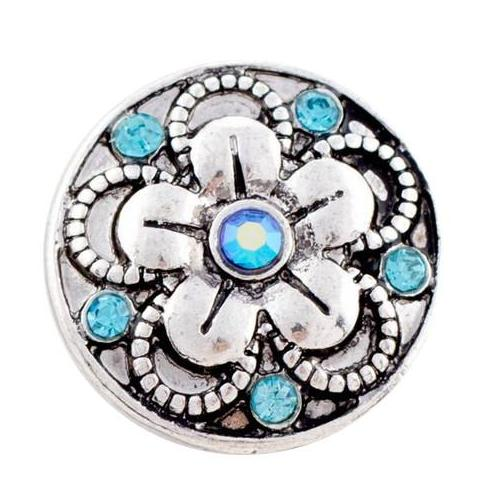 Baby Blue and Silver Crystal Flower snap
