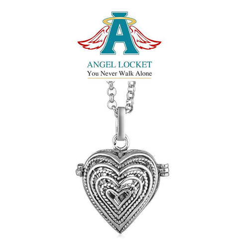 Woven Heart Angel Locket