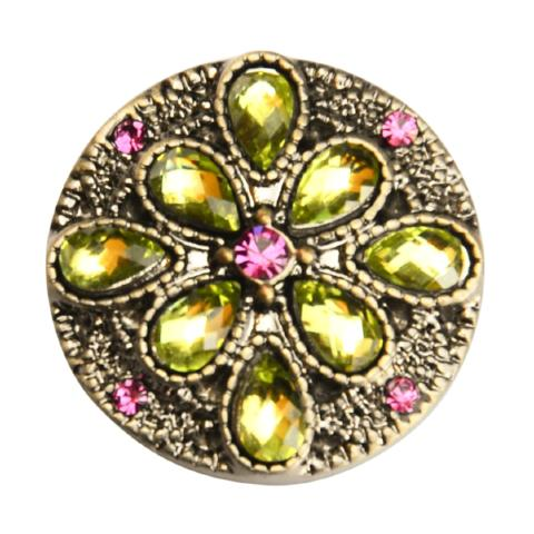 Green Crystal Fancy Floral Snap - Gracie Roze