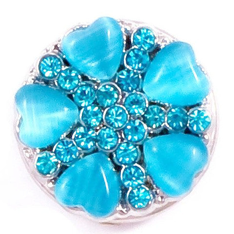 Aqua Shell with Crystals Snap - Gracie Roze Yourself Expression Snap Jewelry