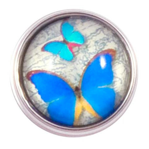 Blue Butterflies Mini snap - Gracie Roze Yourself Expression Snap Jewelry