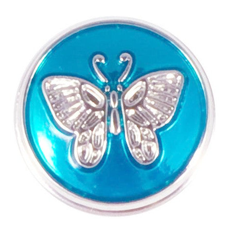 Blue Metal Butterfly Snap - Gracie Roze Yourself Expression Snap Jewelry