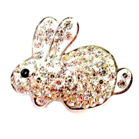 White Crystal Bunny Rabbit Popper for Snap Jewelry