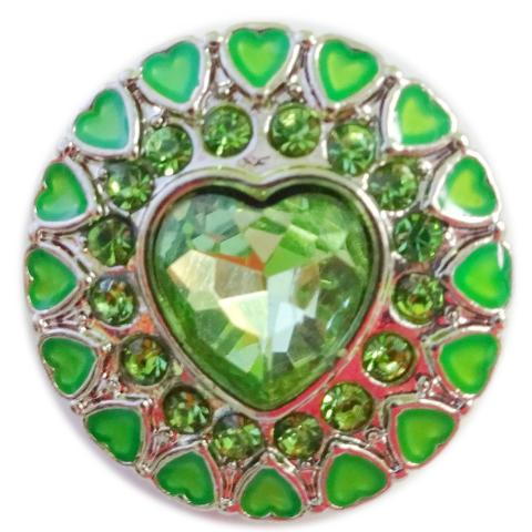 Green Hearts Popper for Snap Jewelry