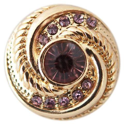Gold Shell with Purple Crystals Snap - Gracie Roze Yourself Expression Snap Jewelry