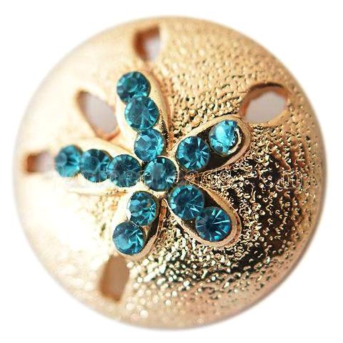 Gold and Teal Sand Dollar and Starfish Snap - Gracie Roze Yourself Expression Snap Jewelry