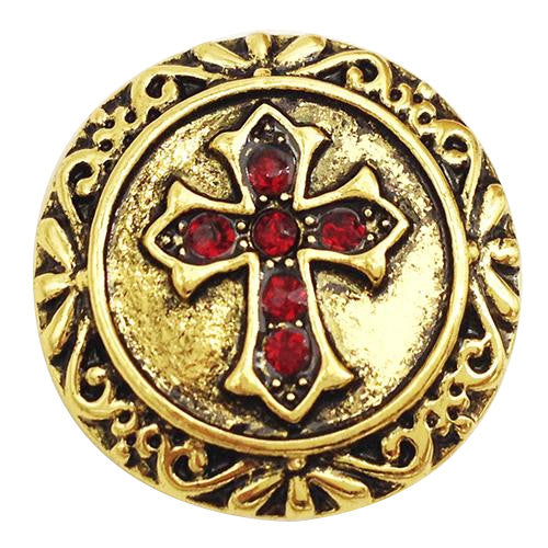 Antique Gold and Red Cross Snap