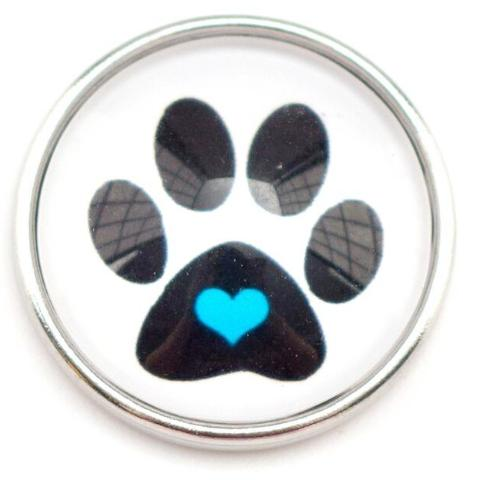 Blue Heart Paw Snap - Gracie Roze Yourself Expression Snap Jewelry