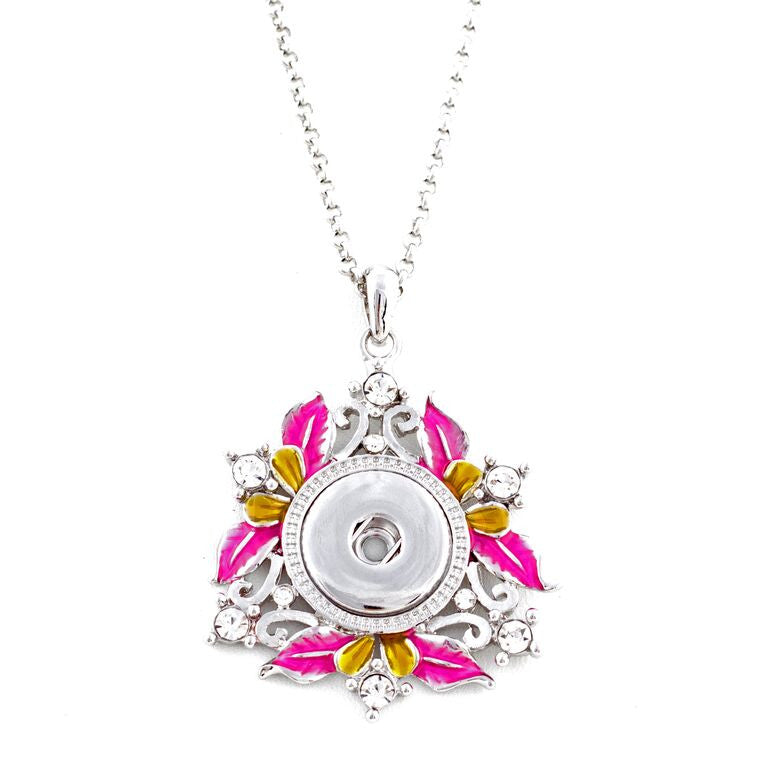 Pink and Yellow Flower Snap Necklace