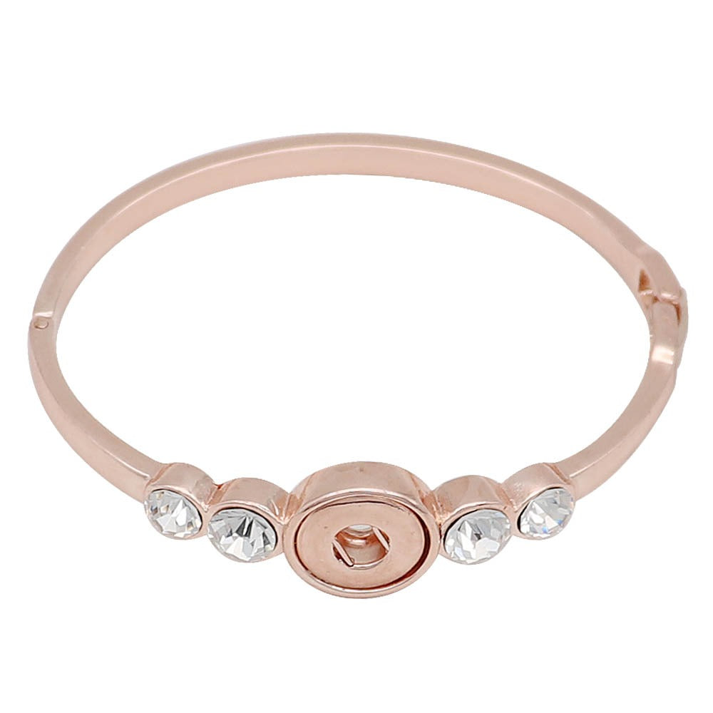 Rose Gold Crystal Clasp Mini Bracelet - Gracie Roze