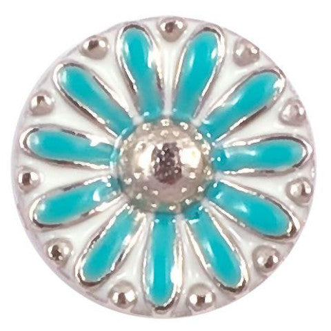 White and Blue Metal Flower Snap - Gracie Roze