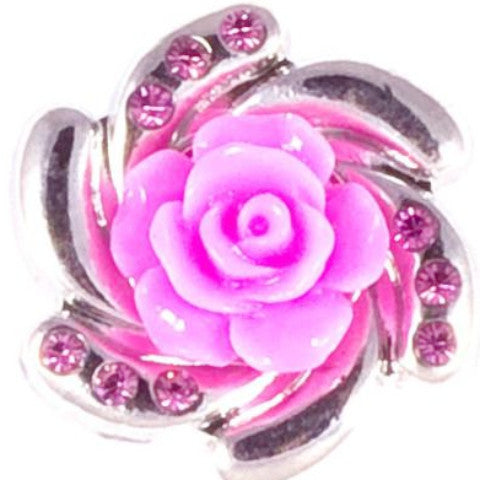 Metal Pink Resin Flower with Crystal Popper