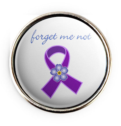 Alzheimers Forget Me Not Popper for Snap Jewelry