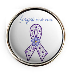 Alzheimers Ribbon Popper for Snap Jewelery