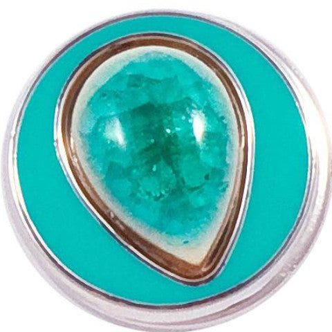 Teal Stone Teardrop snap