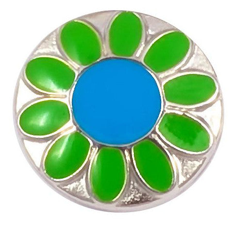 Blue and Green Metal Flower Snap - Gracie Roze Yourself Expression Snap Jewelry