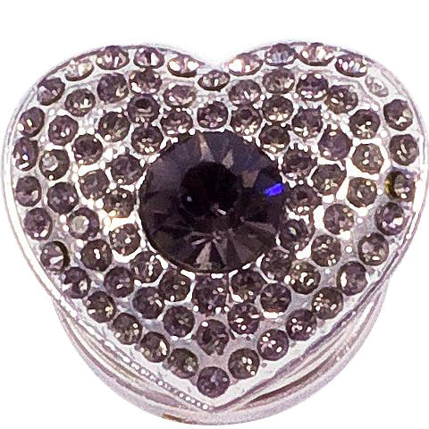 Gray Crystal Heart Snap - Gracie Roze