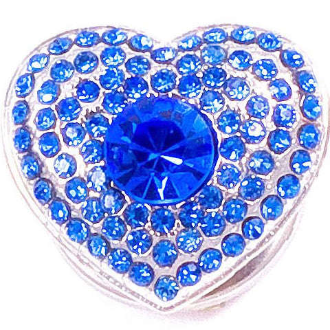 Blue Crystal Heart Snap