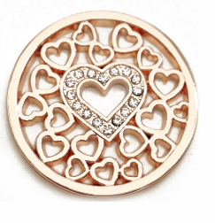Rose Gold Hearts with Crystal Heart Center Coin - Gracie Roze