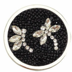Dragonflies of Black and White Crystals Coin for Coin Lockets