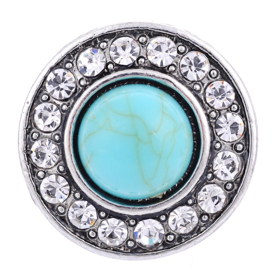 Turquoise Stone with Crystals Snap