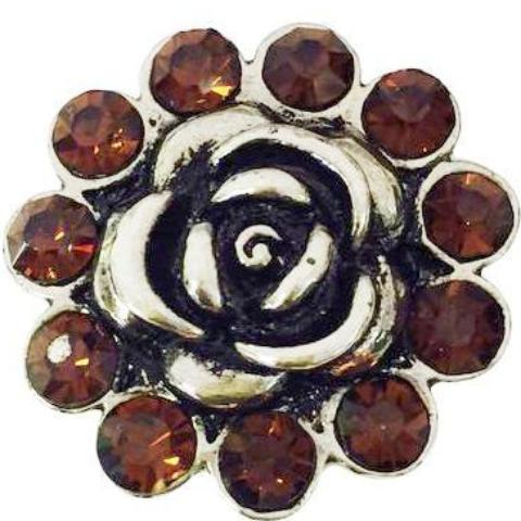 Large Metal Flower with Brown Crystals Popper