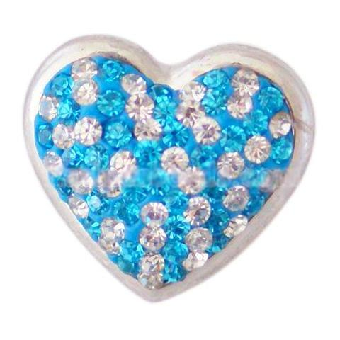 Blue and White Crystal Heart Snap