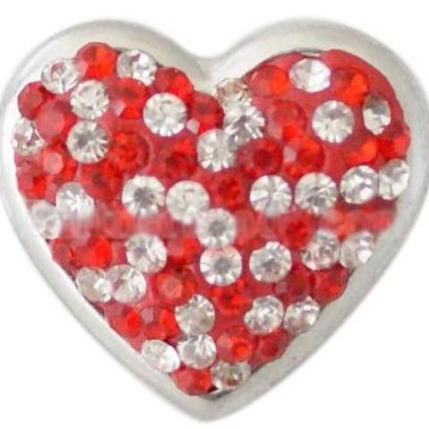 Red and White Crystal Heart Snap