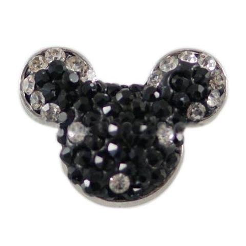 Black Crystal Mouse Ears Snap - Gracie Roze Yourself Expression Snap Jewelry