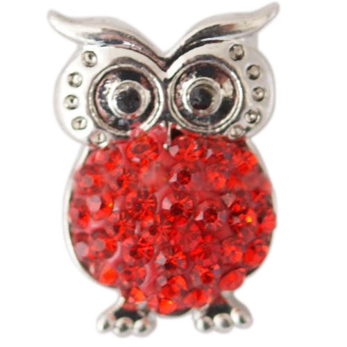 Red Cotton Candy Owl Snap - Gracie Roze Yourself Expression Snap Jewelry