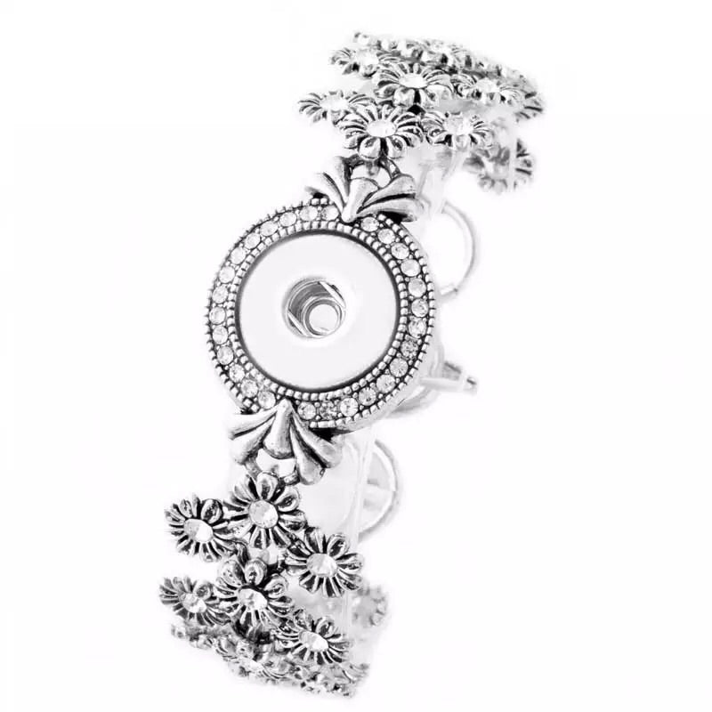 Flowers and Crystals Snap Bracelet