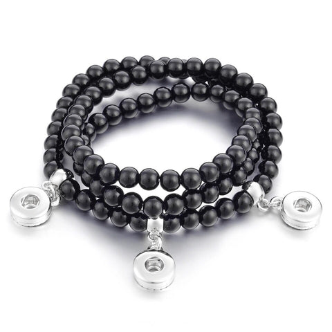Black 3 Snap Stretch Mini Snap  Bracelet