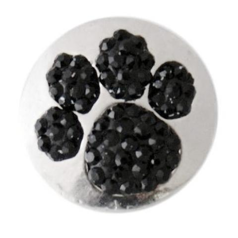 Black Crystal Paw Snap - Gracie Roze Yourself Expression Snap Jewelry