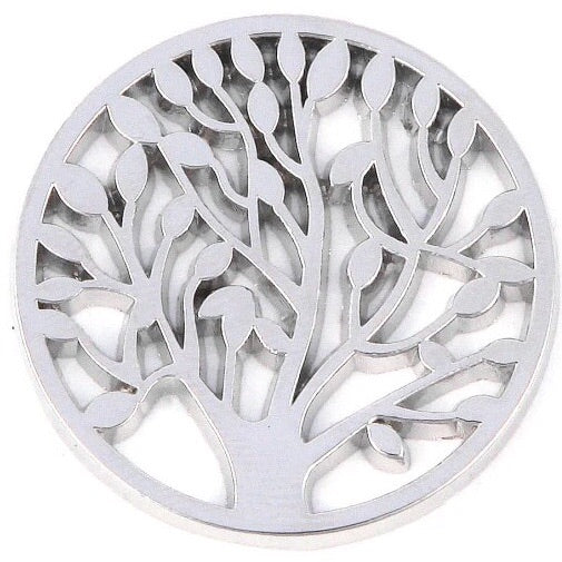 Silver Leafy Tree Coin - Gracie Roze Yourself Expression Snap Jewelry
