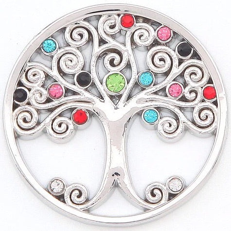 Silver Multi Crystal Tree Coin