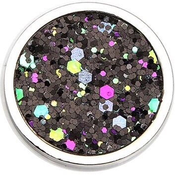 Midnight Black Glitter Coin - Gracie Roze Yourself Expression Snap Jewelry