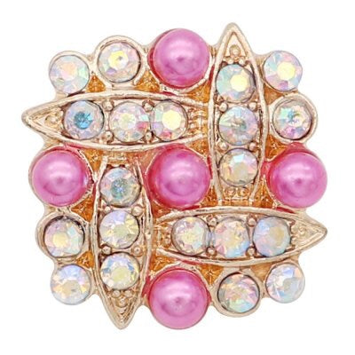 Pink Pearl Diamond Snap - Gracie Roze Yourself Expression Snap Jewelry