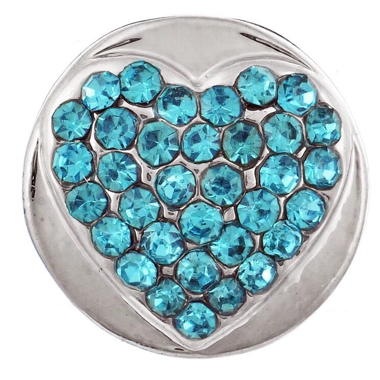 Blue Crystal Heart Mini Snap - Gracie Roze Yourself Expression Snap Jewelry