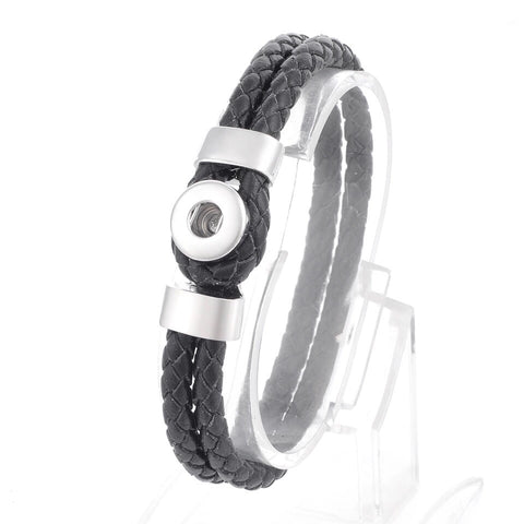 Black Leather Mini Snap Bracelet