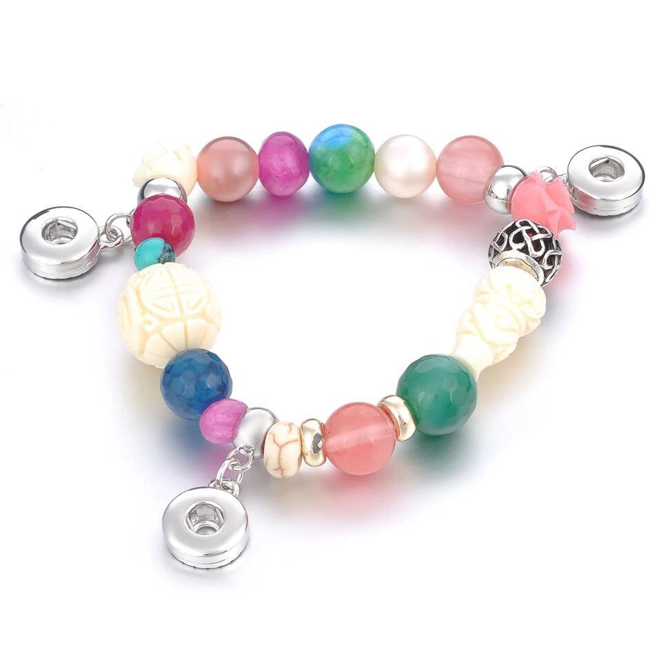 Colorful Beads 3 Snap Bracelet - Gracie Roze