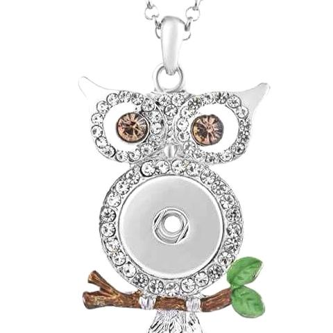 Brown Branch Owl Snap Necklace - Gracie Roze Yourself Expression Snap Jewelry