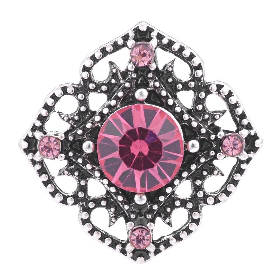 Pink Crystal Cut Out Snap - Gracie Roze